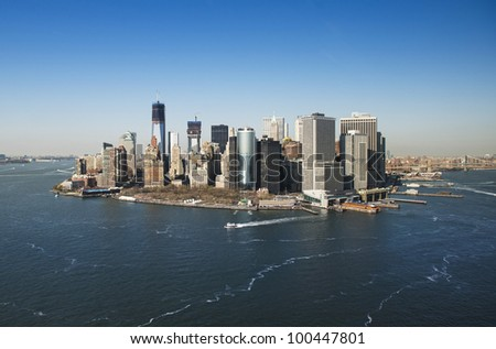 aerial shot downtown manhattan - stock photo