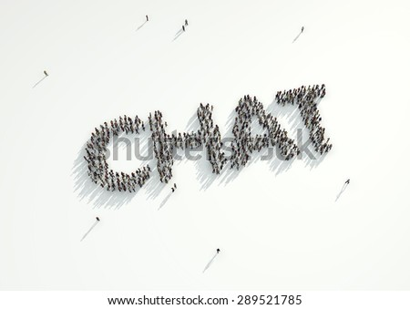 Aerial shot of a crowd of people forming the word 'Chat'. Concept for how people follow each other on social networks and social media channels, websites, chat rooms and news groups. - stock photo
