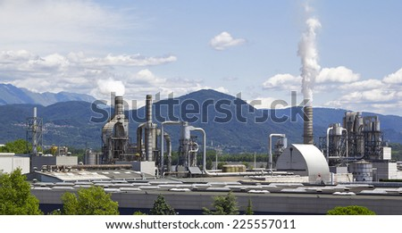 Aerial shot of a factory - stock photo