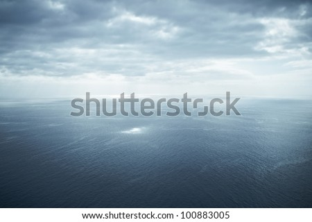 aerial shot of a tranquil ocean seascape - stock photo