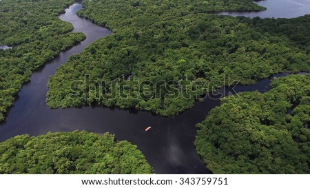 Aerial Shot of Amazon rainforest in Brazil, South America - stock photo