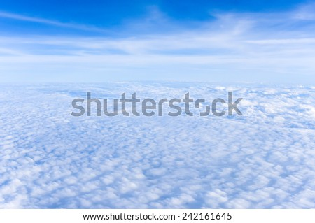 aerial shot of blue sky with clouds - stock photo