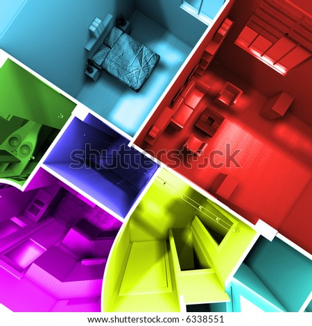 Aerial shot of 3D-rendering of a roofless apartment with rooms in different lively colors - stock photo