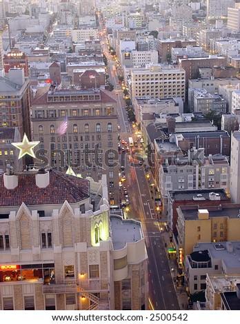 Aerial shot of downtown San Francisco, California - stock photo