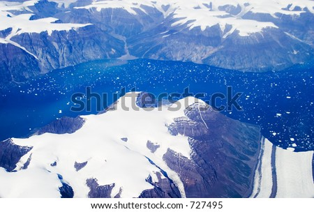 Aerial shot of eastern Greenland  - soft focus - stock photo
