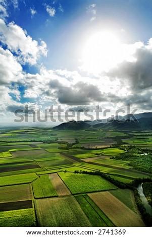 Aerial shot of farmland in the north of Australia - stock photo