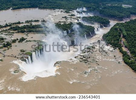 Aerial shot of Iguassu Falls - stock photo