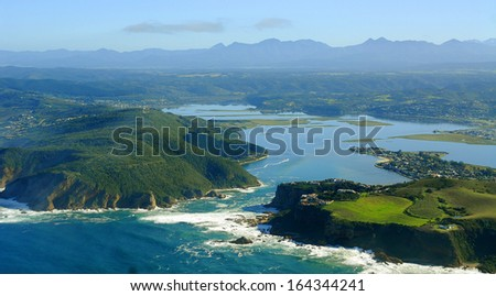 Aerial Shot of Knysna in the Garden Route, South Africa - stock photo