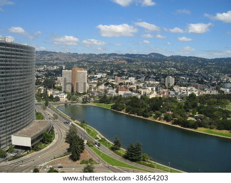 Aerial shot of Lake Merritt, Oakland, California - stock photo