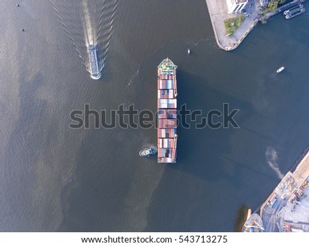 Aerial shot of large bangkok shipping port taken in afternoon, useful for commercial shipping industry concepts