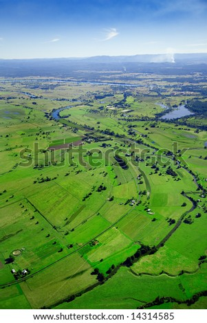 Aerial shot of lush green sugarcane farmland