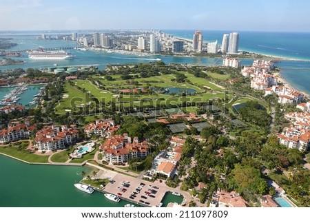 Aerial shot of Miami showing South Beach area, Florida, USA - stock photo