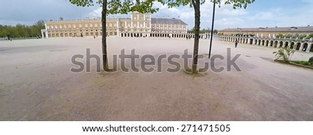 Aerial shot of Royal Palace of Aranjuez, a residence of the King of Spain, Aranjuez, Community of Madrid, Spain. UNESCO World Heritage - stock photo
