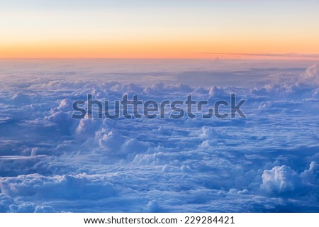 Aerial Shot of Sky Background with Clouds - stock photo