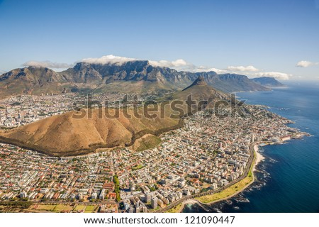Aerial shot of Table Mountains and Indian Ocean in Cape Town, South Africa