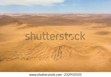 Aerial shot of the dunes in the Namib Desert, Republic of Namibia, Southern Africa - stock photo