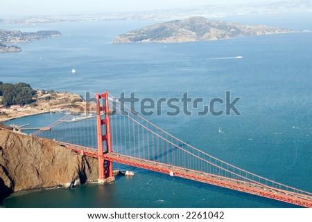 Aerial shot of the Golden Gate Bridge - stock photo