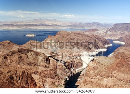 Aerial shot of the Hoover Dam. Glen Canyon Dam on the Colorado River and Lake Powell. Nevada, USA. Famous landmark. - stock photo
