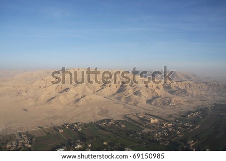 Aerial shot of the Valley of the Kings and Queens, Luxor Egypt