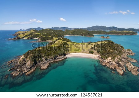 Aerial shot of Urapukapuka Island, Bay of Islands, New Zealand - stock photo