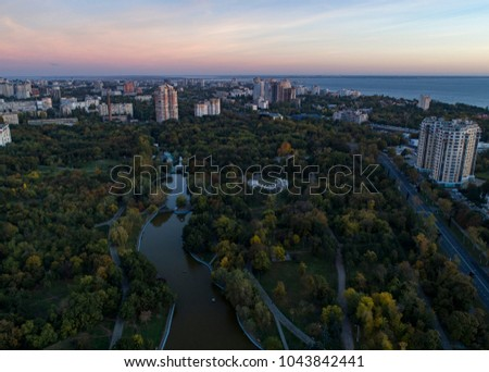 Aerial shot of Victory Park in Odessa at sunsrise. Shot looking towards the city center in Autumn
