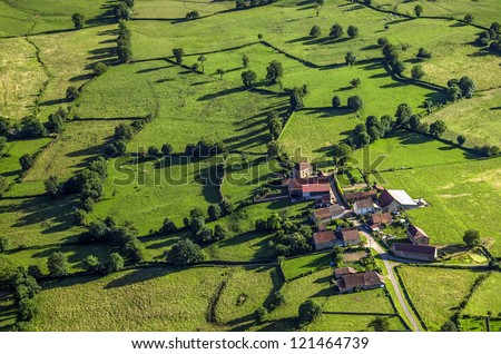 Aerial shot of village in Burgundy, France, Europe. - stock photo