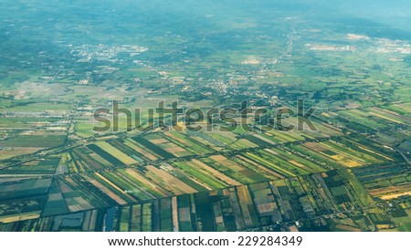 Aerial Shot on a landscape of the Outskirts of Bangkok - stock photo