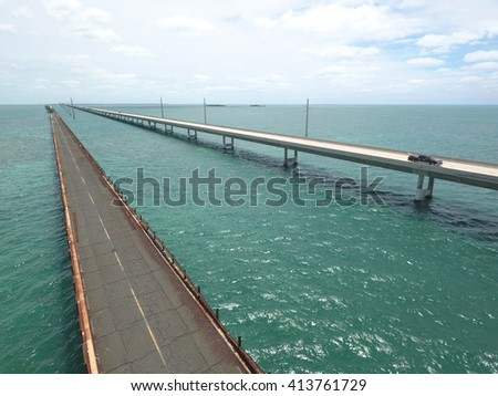 Aerial stock photo of Bridges in the Florida Keys - stock photo