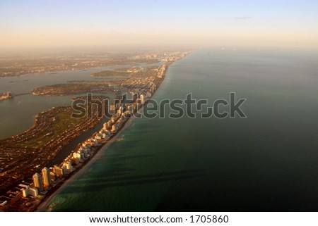 Aerial SunSet view in South Miami Beach - stock photo