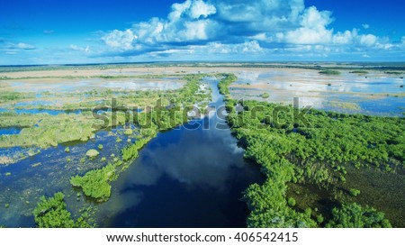 Aerial sunset view of Everglades swamp in Florida. - stock photo