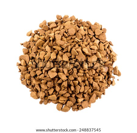 Aerial top view of coffee powder isolated on white - stock photo