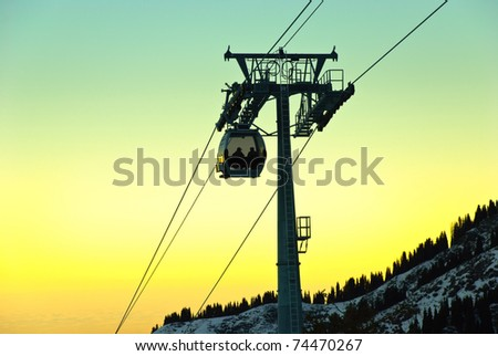 Aerial tramway in the mountain. Also known as cable car.