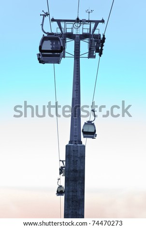 Aerial tramway in the mountain. Also known as cable car. - stock photo