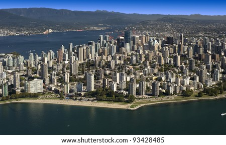 Aerial Vancouver - West End beaches - stock photo