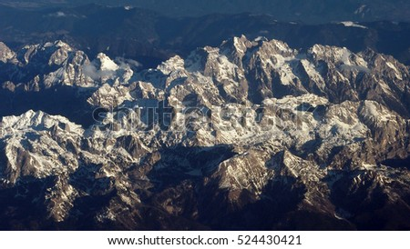 aerial vier of mountain from airplane, Europe Alps