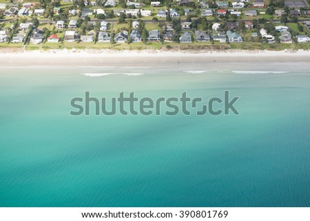 Aerial vies of a beach in New Zealand - stock photo