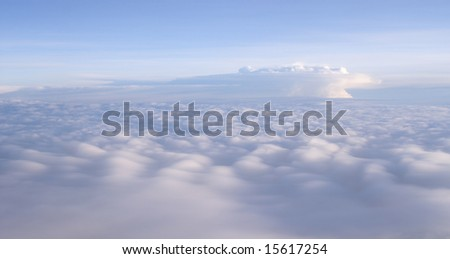 aerial vieuw of dreaming clouds all in the same color - stock photo