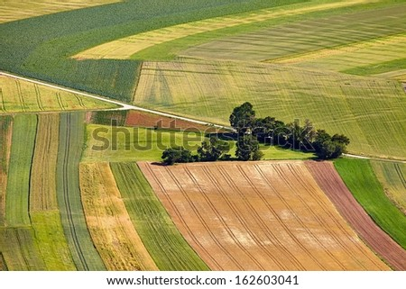 Aerial view a field - stock photo