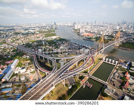 Aerial view above the Bhumibol Bridge inter-city expressway Across the Chao Phraya River and ring road systems on the outer edge of Bangkok Metropolitan.
