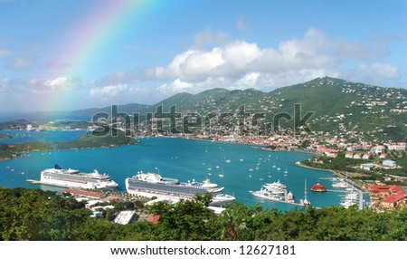 Aerial view and rainbow over St Thomas, US Virgin islands - stock photo