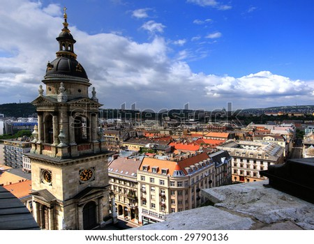 Aerial view at Budapest from the top of St Stephen Basilica - stock photo