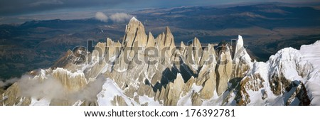 Aerial view at 3400 meters of Mount Fitzroy, Cerro Torre Range and Andes Mountains, Patagonia, Argentina - stock photo