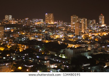 Aerial view at night of modern quarter of Vedado in Havana, Cuba.