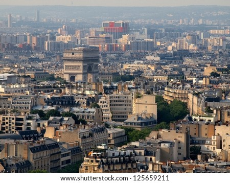Aerial view at Paris architecture from the Eiffel tower. France. - stock photo