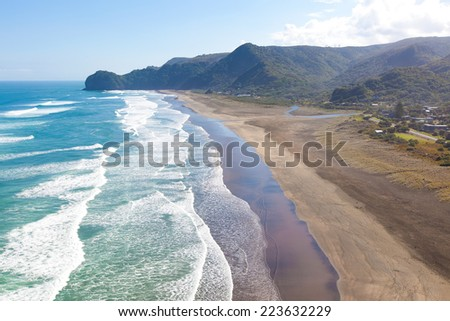 aerial view at piha beach from lion rock at north island in new zealand - stock photo