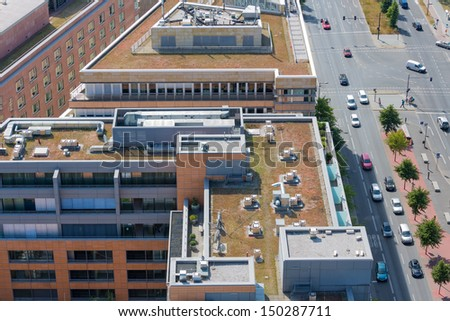 Aerial view at roofs modern office buildings