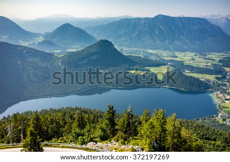 Aerial view at the mountains in Alps Austria