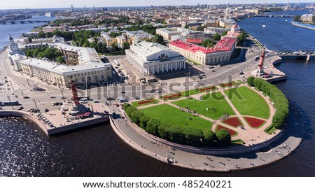 Aerial view at the spit of Vasilyevsky Island at the intersection of the Malaya (Small) and Bolshaya (Big) Neva, St. Petersburg, Russia