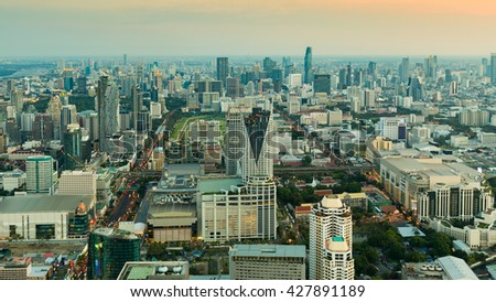 Aerial view, Bangkok central business downtown during sunset - stock photo