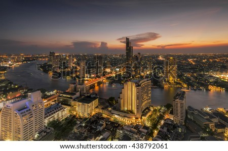 Aerial view Bangkok city business area during sunset, Thailand - stock photo
